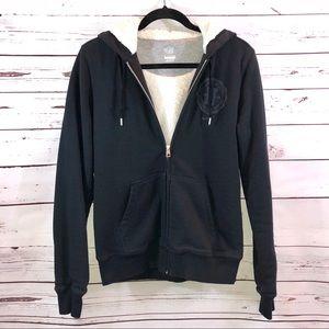 Nike Sherpa Lined Hooded Black Athletic Jacket